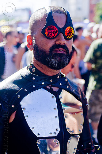 oakley over the top sunglasses and armored plates costume, armored plates, armoured plates, beard, body armor, body armour, fashion, folsom street fair, man, metal plates, mirror sunglasses, oakley over the top