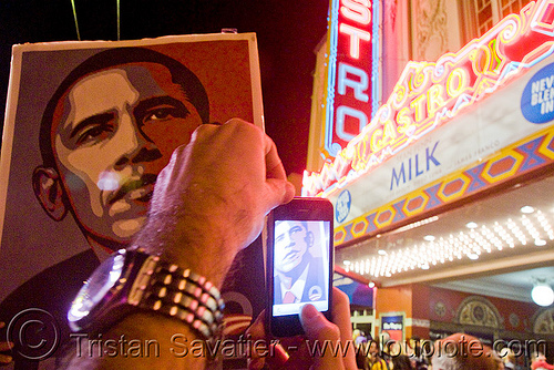 obama gets elected in san francisco - castro street - iPhone - blogging, cnn ireport, election 08, election night, iphone, obama election, president, real-time blogging, street party, united states presidential election, yes we can