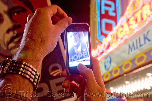 obama gets elected in san francisco - hope - castro street - iPhone - blogging, cnn ireport, election 08, election night, elections, hope poster, iphone, obama election, president, real-time blogging, street party, united states presidential election, yes we can