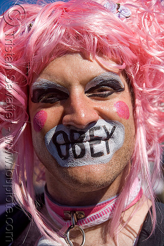 obey, dore alley fair, makeup, man, obey, pink wig