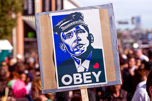 """OBEY"" spoof of obama's ""HOPE"" poster, crowd, election poster, election sign, elections, folsom street fair, hope poster, man, obama, obey, shepard fairey spoof"