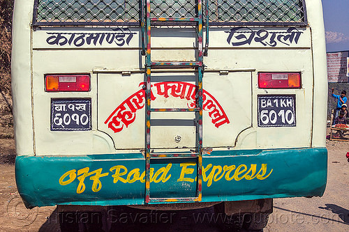 off road express - rear of nepali local bus (nepal), bus, ladder, public transportation, road, sign