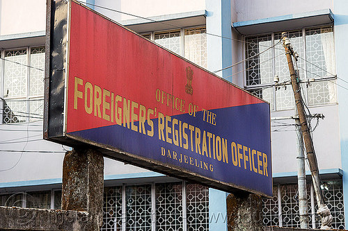 office of the foreigners' registration officer - darjeeling (india), blue, control, darjeeling, police station, red, sign
