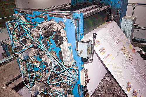 offset press in print shop, lucknow, machine, offset press, print shop, printed paper, printing press