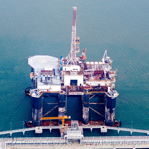 oil rig - neptune finder, aerial photo, dock, docked, jasper offshore, neptune finder, ocean, offshore platform, offshore rig, oil platform, oil rig, sea, semi-sub, semi-submersible platform