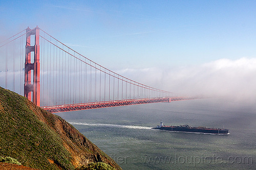 oil tanker ship sailing under the golden gate bridge (san francisco), boat, cargo ship, fog, infrastructure, ocean, sea, seashore, shore, suspension bridge, water