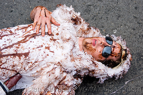 oiled bird costume - BP oil spill disaster, bay to breakers, bp oil spill, crude oil, feathers, footrace, lying down, man, oil pollution, oil-soaked bird, oiled bird costume, street party, sunglasses, white