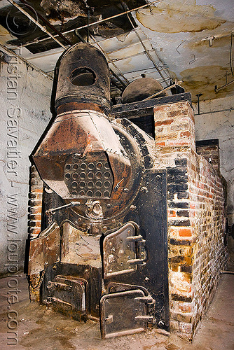 old brick furnace in basement, basement, boiler, brick, heating furnace, rusty