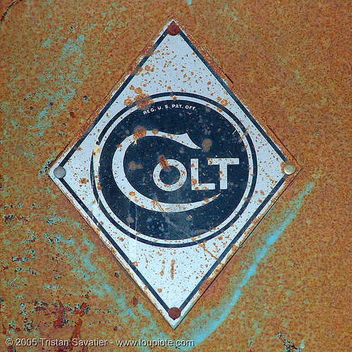 old colt logo in abandoned factory (san francisco), circle, colt defense, diamond, hunter's point, logo, lozenge, plate, rhombus, rusty