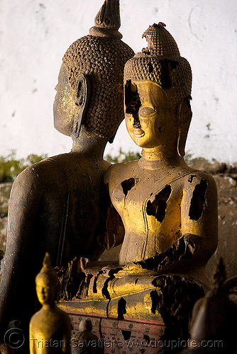 old damaged buddha statues - lower pak ou cave near luang prabang (laos), buddha images, buddha statues, buddhism, caving, damaged, laos, luang prabang, natural cave, old, pak ou caves temples, sculpture, spelunking, statue