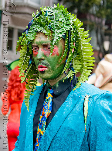 old gregg costume - green man, bay to breakers, blue, blue jacket, ferns, festival, footrace, headdress, leaves, old greg, people, plant, street party