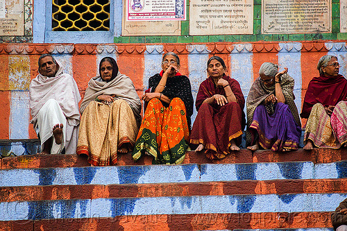 old hindu people sitting on ghat - varanasi (india), ghats, india, man, row, sitting, varanasi, women