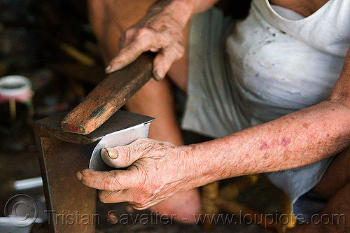 old man hammering metal plate in workshop, borneo, chinese, hands, kuching, malaysia, man, manual worker, metal worker, working