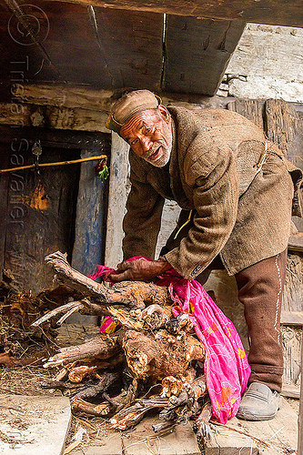 old man with fire wood bundle (india), bundle, house, india, janki chatti, old man, standing, wood