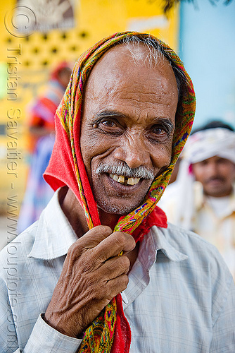 old man with scarf (india), hand, head scarf, india, mustache, old man, sailana