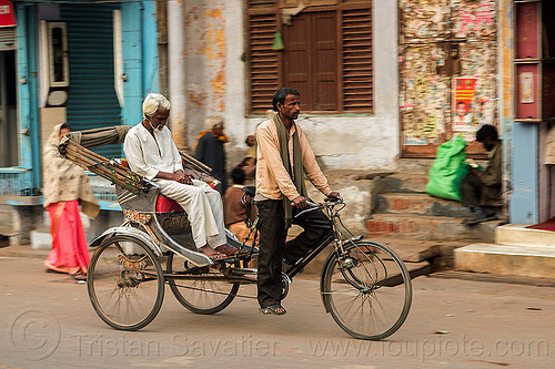 old man with white hair on cycle rickshaw (india), cycle rickshaw, india, men, moving, napping, sleeping, varanasi, white hair