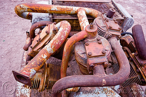 old rusty pump engine, abandoned, chile, cylinder, engine, manifolds, motor, pipes, pump, rusted, rusty, san pedro de atacama