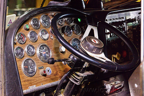 old-school truck cab with lots of dials, demolition, gauges, light rail, lorry, muni, night, ntk, railroad construction, railroad tracks, railway tracks, san francisco municipal railway, steering wheel, track maintenance, track work, truck cab, trucking