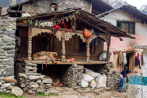 old traditional house with wood carvings in himalayan village (india), carved, child, columns, house, intricate, janki chatti, kid, village, wood carving
