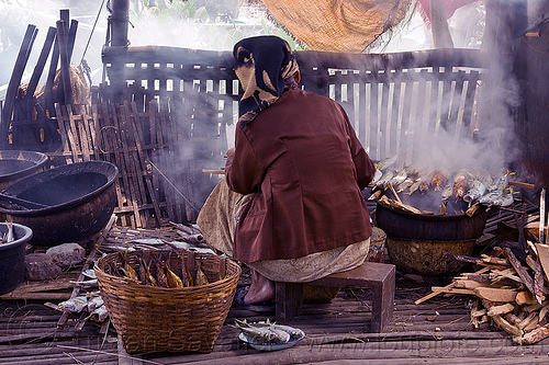 old woman smoking fish, cooking, fishes, java, old woman, sitting, smoke, smoked fish, smoking, tamansari, working