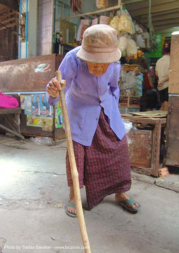 old woman with cane - thailand, asian woman, old woman, thailand, walking cane