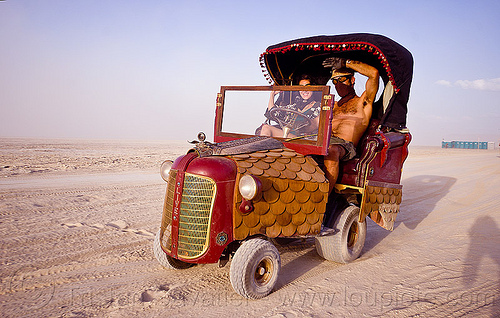 """oliver"" tractor art car - burning man 2012, art car, burning man, couple, joy, woman"