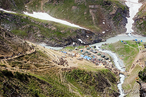 one of the camps on the trail - amarnath yatra (pilgrimage) - kashmir, amarnath yatra, camp, encampment, kashmir, mountain trail, mountains, pilgrimage, pilgrims, river bed, snow, tents, trekking, valley, yatris, अमरनाथ गुफा