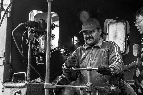 operator at the controls of steam locomotive - darjeeling (india), 782 mountaineer, controls, darjeeling himalayan railway, darjeeling toy train, india, men, narrow gauge, operator, railroad, steam engine, steam locomotive, steam train engine