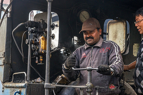 operator at the controls of steam locomotive - darjeeling (india), 782 mountaineer, cab, controls, darjeeling himalayan railway, darjeeling toy train, men, narrow gauge, operator, railroad, steam engine, steam locomotive, steam train engine