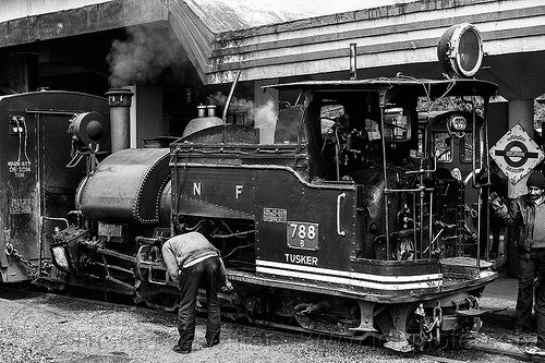 operator inspecting the rods of a steam locomotive at the darjeeling train station (india), 788 tusker, darjeeling himalayan railway, darjeeling toy train, men, narrow gauge, railroad, smoke, smoking, steam engine, steam locomotive, steam train engine, train car, train station, worker, working