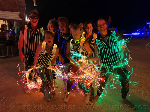 optic fiber costumes - burning man 2019, burning man, glowing costumes, night, optic fiber