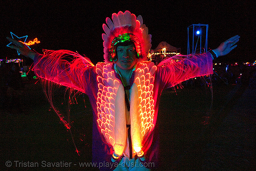 optical fiber suit - glowing - burning-man 2006, art, burning man, costume, fiber optic, glowing, night, optical fiber, optical fibre