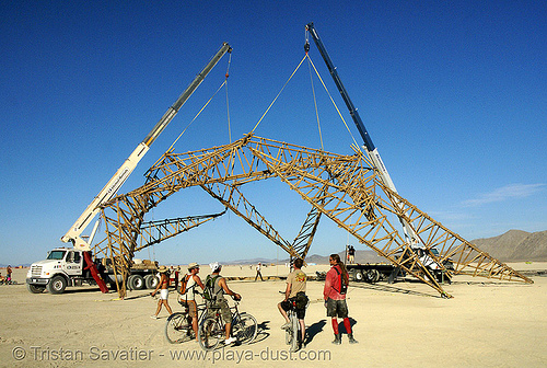 opulent temple bamboo structure construction - burning man 2007, art installation, bamboo, burning man, lorry, opulent temple, structure, telescopic cranes, trucks