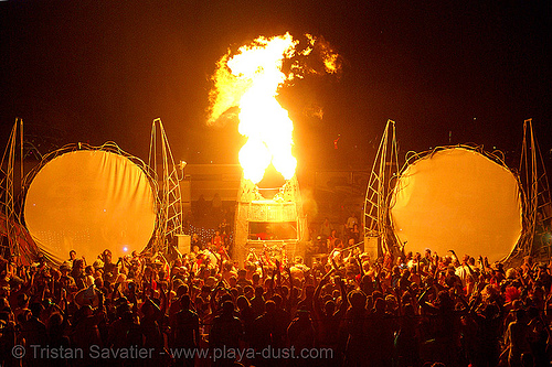 opulent temple - burning man 2007, burning man, crowd, dancing, fire, flames, night, opulent temple