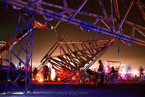 opulent temple structure - burning man 2007, art installation, bamboo, burning man, night, opulent temple, structure