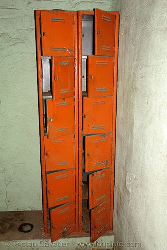orange lockers, abandoned factory, derelict, industrial, lockers, orange, tie's warehouse, trespassing