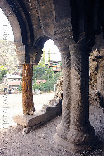 oshki monastery - georgian church ruin (turkey), byzantine, columns, georgian church ruins, orthodox christian, oshki monastery, pillars, tree trunk, vaults, öşk, öşkvank