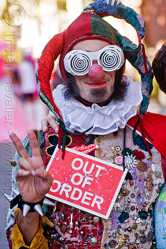 out of order clown, beard, clown nose, costume, fool hat, hand, man, out of order, peace sign, red nose, spiral glasses, spiral goggles