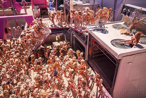 ovens at the barbie death camp - burning man 2015, barbie death camp, barbie dolls, burning man, many, ovens