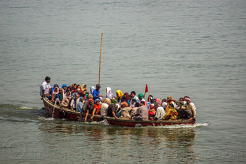 overcrowded boat on the ganges river - hindu pilgrims (varanasi), crowd, ganga, ganga river, hinduism, people, river boat, water