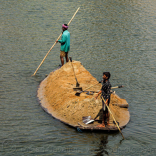 overloaded boat transporting sand (india), cargo, dahut river, freight, loaded, men, overloaded, poles, river boat, sand, shovels, small boat, transport, transporting, water, west bengal, workers, working