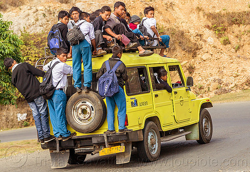 overloaded car - indian school bus (india), 4x4, boys, car, children, crowd, east khasi hills, girls, indigenous, kids, mahindra maxx, meghalaya, nangkiew, overloaded, road, school bus, school jeep, shaphrang, yellow