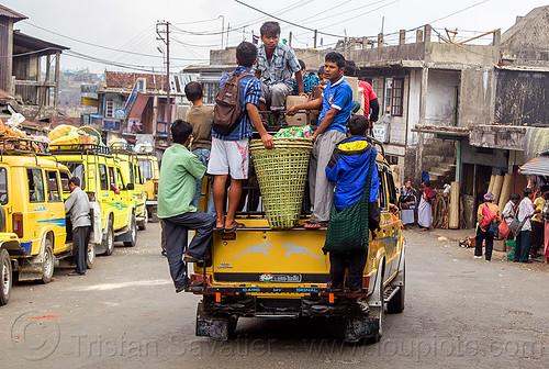 overloaded jeep taxi - TATA spacio (india), 4x4, basket, east khasi hills, indigenous, jeeps, meghalaya, people, public transportation, pynursla, rattan, rattan basket, street, tata motors