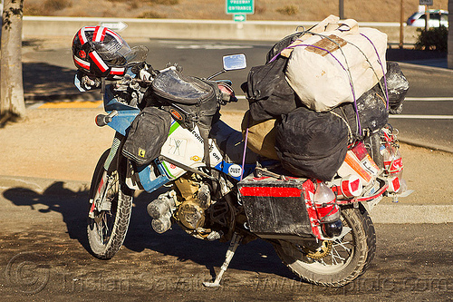 overloaded motorbike - KLR 650, cargo, dual-sport, duffle bags, freight, kawasaki, klr 650, luggage rack, motorbike touring, motorcycle touring, pannier cases, panniers, tank bags, tool tubes