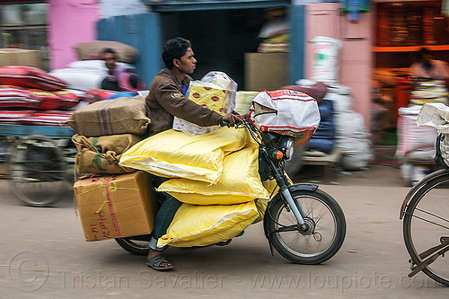 overloaded motorcycle (india), bags, bearer, boxes, cargo, freight, heavy, load, man, motorbike, moving, overloaded, rider, riding, sacks, street, transport, transportation, transporting, underbone motorcycle, varanasi