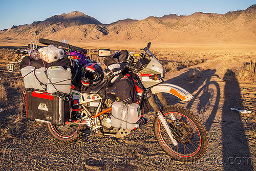 overloaded motorcycle - KLR 650 - burning man 2016, bags, bicycle, bike, burning man, dual-sport, helmet, kawasaki, klr 650, luggage, motorcycle touring, overloaded, panniers, tank bag, water bottles, water jugs