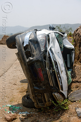 overturned car - TATA indica, car accident, car crash, front, india, kashmir, overturned car, road, rollover, tata indica, tata motors, traffic accident, white, wreck