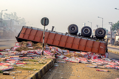 overturned semi-trailer with spilled load (india), accident, artic, articulated truck, big-rig, crash, median, road, rollover, semi trailer, street, tractor trailer, traffic accident, wreck