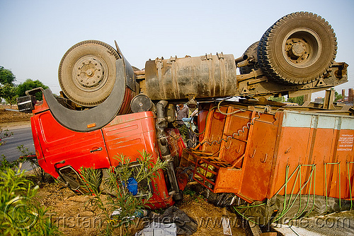overturned semi truck - big rig accident - (india), artic, articulated lorry, big rig, cab, cabin, collision, crushed, overturned truck, road crash, rollover, semi truck, semi-trailer, tata motors, tractor trailer, traffic accident, traffic crash, truck accident, up side down, wreck