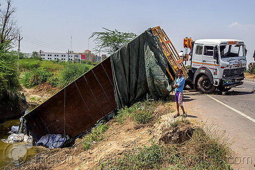 overturned semi truck (india), 4018c, artic, articulated truck, big rig, boy, child, crash, ditch, kid, overturned, road, semi-trailer, tata motors, tractor trailer, traffic accident, truck accident